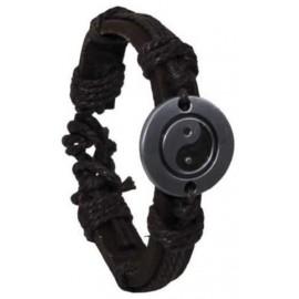 MFH Brunt läderarmband med Emblem - Yin Yang